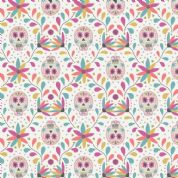 Lewis & Irene Paracas - 5341 - Skulls, Multicoloured Brights on White - A204.1 - Cotton Fabric